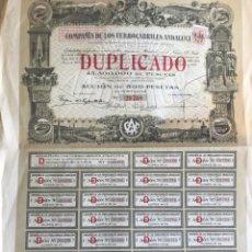 Coleccionismo Acciones Españolas: ACCIÓN DE LA CIA. DE LOS FERROCARRILES ANDALUCES DE 1924. Lote 148303658