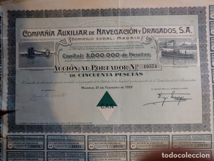 Coleccionismo Acciones Españolas: ZVCOLEC.ACCIÓN COMPAÑIA AUXILIAR DE NAVEGACION Y DRAGADOS SA. 1929 - Foto 2 - 148342562