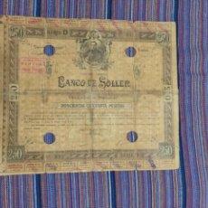Coleccionismo Acciones Españolas: MUY RARA OBLIGACIÓN 250 PTAS. 1910 BANCO DE SÓLLER MALLORCA CIRCULÓ COMO VALOR MONETAL Nº033. Lote 122404767