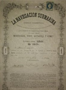 1864 Acción original Ictineo. La navegación submarina. Narciso Monturiol. 22 de mayo 1864