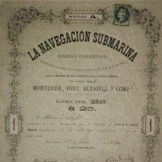 Coleccionismo Acciones Españolas: 1864 ACCIÓN ORIGINAL ICTINEO. LA NAVEGACIÓN SUBMARINA. NARCISO MONTURIOL. 22 DE MAYO 1864. Lote 115169383