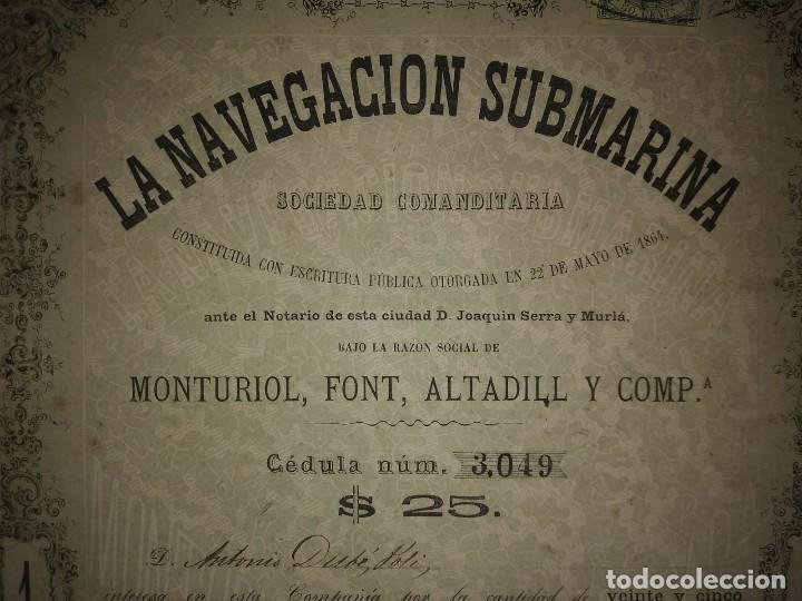 1864 Acción original Ictineo. La navegación submarina. Narciso Monturiol. 22 de mayo 1864 - 115169383