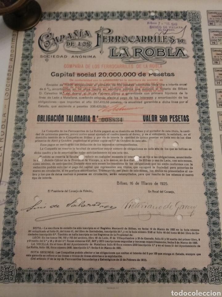 ACCION COMPAÑÍA DE LOS FERROCARRILES DE LA ROBLA 1925 DOMICILIADA BILBAO (Coleccionismo - Acciones Españolas)