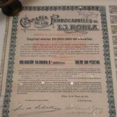 Coleccionismo Acciones Españolas: ACCION COMPAÑÍA DE LOS FERROCARRILES DE LA ROBLA 1925 DOMICILIADA BILBAO. Lote 149264314