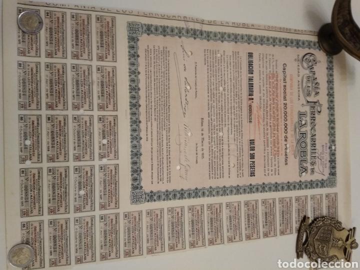 Coleccionismo Acciones Españolas: Accion COMPAÑÍA DE LOS FERROCARRILES DE LA ROBLA 1925 DOMICILIADA BILBAO - Foto 2 - 149264314