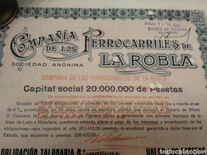 Coleccionismo Acciones Españolas: Accion COMPAÑÍA DE LOS FERROCARRILES DE LA ROBLA 1925 DOMICILIADA BILBAO - Foto 3 - 149264314
