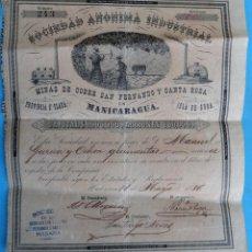 Coleccionismo Acciones Españolas: ACCION SOCIEDAD ANONIMA INDUSTRIAL ,MINAS COBRE ,MANICARAGUA, CUBA 1887 , EPOCA ESPAÑOLA , J. Lote 149357150