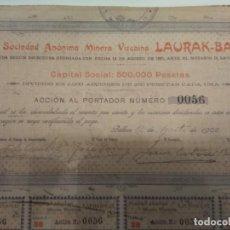 Coleccionismo Acciones Españolas: MUY RARA ACCION SOCIEDAD ANÓNIMA MINERA LAURAK BAT 1902 CUPONES INTACTOS. Lote 149408834