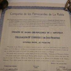 Coleccionismo Acciones Españolas: ACCION OBLIGACIÓN COMPAÑÍA DE LOS FERROCARRILES DE LA ROBLA 1921 CUPONES. Lote 149409058