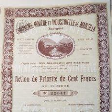 Coleccionismo Acciones Españolas: ACCION MINAS COMPAÑIA MINERA DE MANSILLA. LA RIOJA 1905. Lote 149500873
