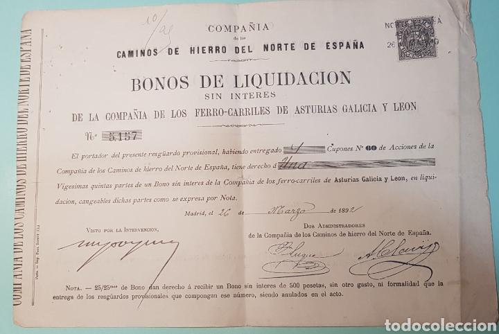 BONOS LIQUID ACCIONES CAMINOS HIERRO DEL NORTE DE ESPAÑA. FERROCARRILES ASTURIAS GALICIA LEON 1892 (Coleccionismo - Acciones Españolas)