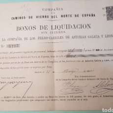 Coleccionismo Acciones Españolas: BONOS LIQUID ACCIONES CAMINOS HIERRO DEL NORTE DE ESPAÑA. FERROCARRILES ASTURIAS GALICIA LEON 1892. Lote 149503133