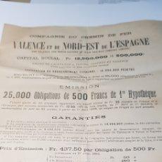 Coleccionismo Acciones Españolas: EMISION ACCIONES FERROCARRIL VALENCIA Y NORDESTE DE ESPAÑA. CALATAYUD TERUEL SAGUNTO VALENCIA 1893. Lote 149504730