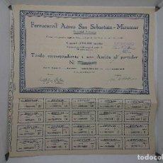 Coleccionismo Acciones Españolas: ACCION FERROCARRIL AEREO SAN SEBASTIAN MIRAMAR 1929. Lote 149715546