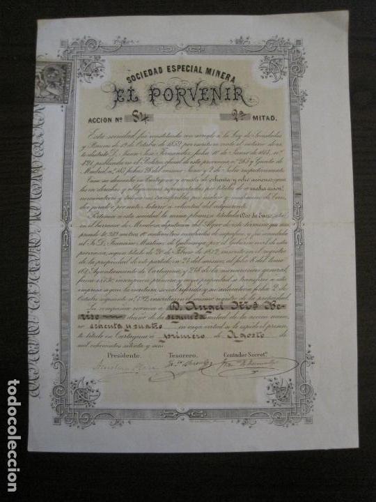 ACCION SOCIEDAD ESPECIAL MINERA-CARTAGENA-VER FOTOS-(ACCION-48) (Coleccionismo - Acciones Españolas)
