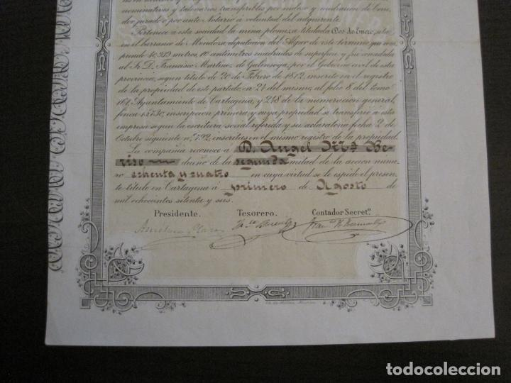 Coleccionismo Acciones Españolas: ACCION SOCIEDAD ESPECIAL MINERA-CARTAGENA-VER FOTOS-(ACCION-48) - Foto 3 - 150008038