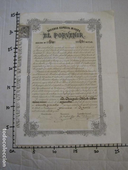 Coleccionismo Acciones Españolas: ACCION SOCIEDAD ESPECIAL MINERA-CARTAGENA-VER FOTOS-(ACCION-48) - Foto 11 - 150008038