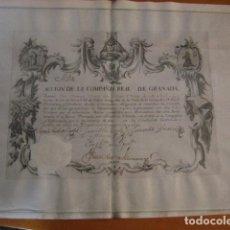 Colecionismo Ações Espanholas: ACCIÓN COMPAÑÍA REAL DE GRANADA. 1747. SIGLO XVIII. IMPRESA EN VITELA RESERVADO LAALEGRANZA. Lote 194600615