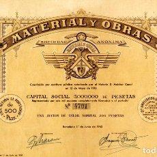 Coleccionismo Acciones Españolas: MATERIAL Y OBRAS - ACCION 1940. Lote 151486746