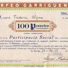 Coleccionismo Acciones Españolas: ORFEO GARRIGUENC - BONO 1929. Lote 151487986