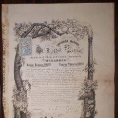 Coleccionismo Acciones Españolas: MAZARRON ACCION DE LA SOCIEDAD MINERA LA BUENA FE MINA TRIUNFO 1874 . Lote 151554110