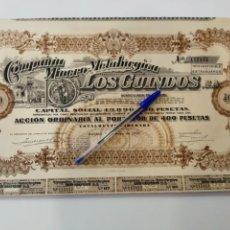 Coleccionismo Acciones Españolas: COMPAÑIA MINERO METALURGICA LOS GUINDOS S.A. . Lote 151712158