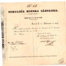 Collectionnisme Actions Espagne: RECIBO COMPAÑIA MINERA CANTABRA POR DEPOSITO DE REALES DE VELLON POR ACCION. MADRID, AÑO 1846. Lote 151966181