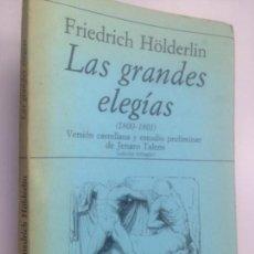Coleccionismo Acciones Españolas: HOLDERLIN, FRIEDRICH: LAS GRANDES ELEGIAS (1800-1801) (ED. BILINGÜE). Lote 152042414