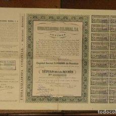 Coleccionismo Acciones Españolas: URBANIZADORA COLONIAL ANDÚBAR BATA GUINEA ESPAÑOLA 1955. MEDIDAS 49 X 33,50 CM. Lote 152314222
