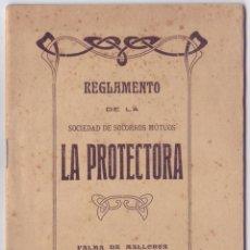 Collectionnisme Actions Espagne: REGLAMENTO DE LA SOCIEDAD DE SOCORROS MUTUOS LA PROTECTORA - PALMA DE MALLORCA (1916). Lote 153086062