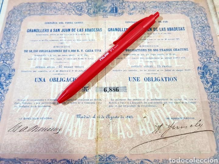 ACCION OBLIGACION 1900 REALES DE VELLÓN FERROCARRIL GRANOLLERS A SAN JUAN DE LAS ABADESAS 1863. (Coleccionismo - Acciones Españolas)
