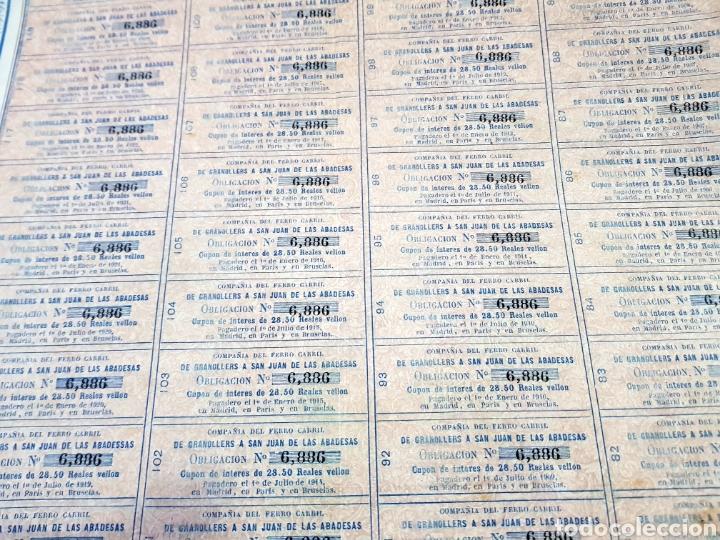 Coleccionismo Acciones Españolas: ACCION OBLIGACION 1900 REALES DE VELLÓN FERROCARRIL GRANOLLERS A SAN JUAN DE LAS ABADESAS 1863. - Foto 2 - 153135772