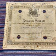 Coleccionismo Acciones Españolas: MUY RARA OBLIGACIÓN DE 250 PESETAS 1930 BANCO DE SÓLLER CIRCULÓ COMO VALOR MONETAL. Lote 153458241