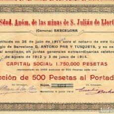 Coleccionismo Acciones Españolas: MINAS DE S. JULIAN DE LLORT - ACCION 1914. Lote 154280762
