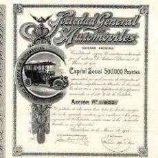 Coleccionismo Acciones Españolas: SDAD GRAL DE AUTOMOVILES - ACCION 1911. Lote 154285106