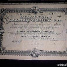 Coleccionismo Acciones Españolas: ACCIÓN. HILATURAS CARALT-PÉREZ,S.A.- BARCELONA 1920.. Lote 154332030