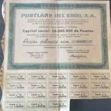 Coleccionismo Acciones Españolas: ACCIÓN VALOR NOMINAL Nº 018,789 PORTLAND DEL EBRO S.A. 500 PTAS. AÑO 1955. Lote 155661274