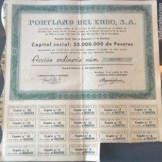 Coleccionismo Acciones Españolas: ACCIÓN VALOR NOMINAL Nº 018,791 PORTLAND DEL EBRO S.A. 500 PTAS. AÑO 1955. Lote 155661958