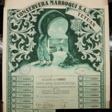 Coleccionismo Acciones Españolas: ACCION DE LA CONSERVERA MARROQUI S.A. - TETUAN - 1947 - LITOGRAFIA DURA - VALENCIA - PRECIOSA. Lote 190319961