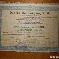 Coleccionismo Acciones Españolas: ACCIÓN - PARTICIPACIÓN DIARIO DE BURGOS - 1000 PESETAS - 14 DE SEPTIEMBRE DE 1959 - 25 X 17 CM. Lote 156675698
