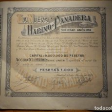 Coleccionismo Acciones Españolas: ACCIÓN - PARTICIPACIÓN LA NUEVA HARINO PANADERA 1000 PESETAS - 13 DE MARZO DE 1959 - 24 X 22 CM. Lote 156675798