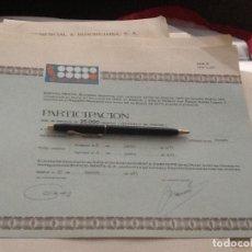 Collectionnisme Actions Espagne: PARTICIPACIÓN SOFICO 6837. Lote 158928302