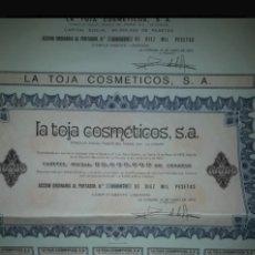 Coleccionismo Acciones Españolas: ACCION COSMETICOS LA TOJA S.A.. Lote 159450804