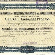 Coleccionismo Acciones Españolas: TRANVIA Y URBANIZACIONES DE VALLDOREIX - ACCION 1928. Lote 159527014