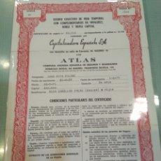 Coleccionismo Acciones Españolas: ACCIÓN CAPITALIZACION ESPAÑOLA S.A. CON ATLAS. Lote 160624736