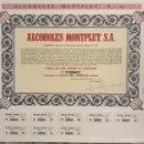Coleccionismo Acciones Españolas: ANTIGUA ACCIÓN COMPLETA ALCOHOLES MONTPLET SA 1974 BARCELONA. CON 8 CUPONES. NÚMERO 5001. 5000 PTS.. Lote 160683682