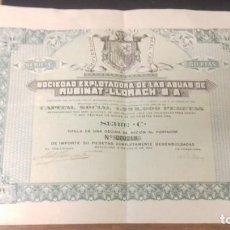Coleccionismo Acciones Españolas: ACCION 50 PTAS SOCIEDAD EXPLOTADORA DE LAS AGUAS DE RUBINAT - LLORACH, LÉRIDA (1922). Lote 161200994