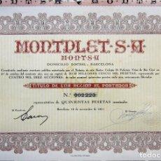 Coleccionismo Acciones Españolas: MONTPLET S.A. 1941 PRECIO FIJO INS.GRAF.OLIVA DE VILANOVA. Lote 161333602