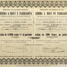 Coleccionismo Acciones Españolas: CIA DE LOS FFCC LERIDA REUS A TARRAGONA - ACCION 1882. Lote 161450818