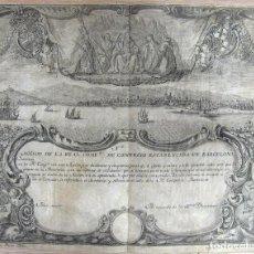 Coleccionismo Acciones Españolas: ACCIÓN SIN EMITIR COMPAÑÍA REAL COMERCIO BARCELONA_ MONTSERRAT_VISTA DE BARCELONA -1759. Lote 162310122